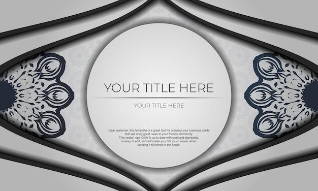 Предпосылка дизайна с винтажным орнаментом. белый векторный баннер с орнаментом мандалы и место для вашего логотипа.