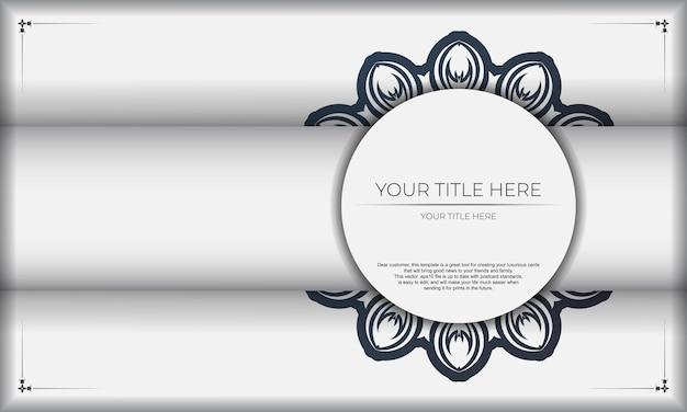Дизайн фона со старинными узорами. белый баннер с орнаментом мандалы и место для вашего текста и логотипа.