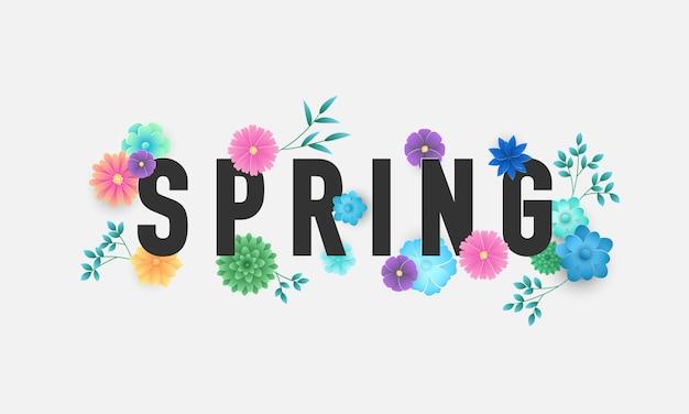 Design banner flower spring background