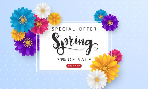 Design banner frame flower spring sale background with beautiful.