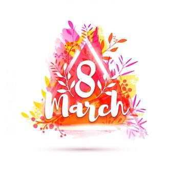 Дизайн баннера международный женский день. флаер на 8 марта с треугольной рамкой и травами. плакат с украшением розового цветка на backgraund акварельной текстуры.