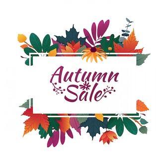 秋のセールのロゴとバナーをデザインします。白いフレームとハーブの秋のシーズンの割引カード
