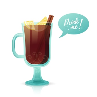 Design a banner with a hot beverage drink me