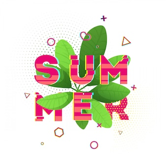 Design banner with pink summer text. glitch texture text with plant decoration. template seasons poster with green leaf and geometric shape on white backgraund. .