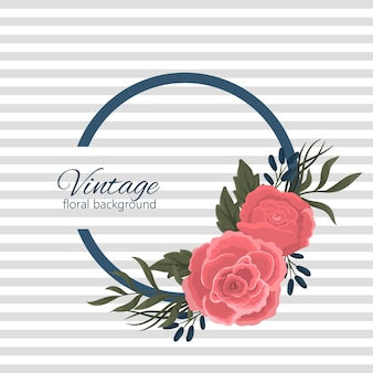 Design banner with red roses and blue flowers