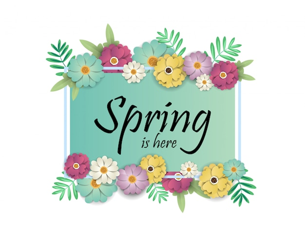 Design banner with spring is here logo