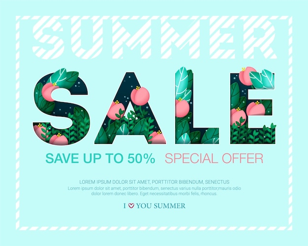 Design banner with summer sale inscription with leaves and flowers
