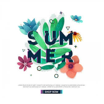 Design banner with summer text. glitch text with flower and plant decoration. template seasons poster with green leaf and geometric shape. .