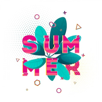 Design banner with summer text. glitch texture text with plant decoration. template seasons poster with blue leaf and pink geometric shape on white backgraund. .