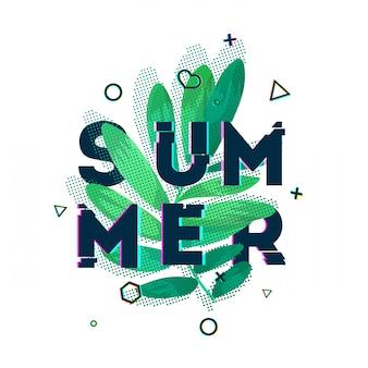 Дизайн баннера с летним текстом. текст текстуры глюк с украшением растений. шаблон сезоны плакат с зелеными листьями и геометрической формой на белом backgraund. ,