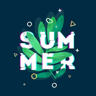 Design banner with summer text. glitch texture text with plant decoration. template seasons poster with green leaf and geometric shape on dark blue backgraund. .