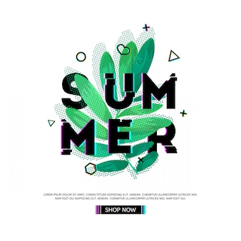 Design banner with summer text. glitch texture text with plant decoration. template seasons poster with green leaf and geometric shape on white backgraund. .