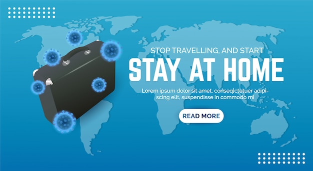 Design banners to promote the rules of staying at home to prevent the spread of coronavirus.