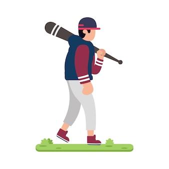 Design baseball players on grass