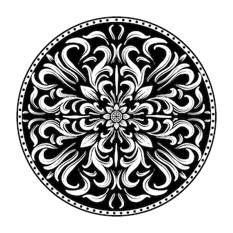 デザインの黒と白の手描きイラストサークル彫刻飾り