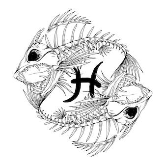 Дизайн черный или белый рисованной иллюстрации рыбы череп зодиак