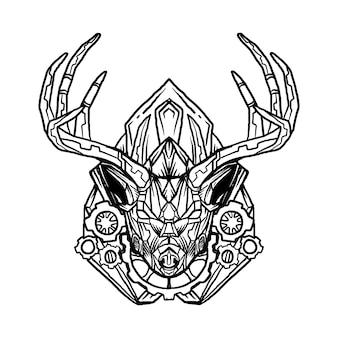 黒と白のデザイン手描きイラストロボット鹿の頭