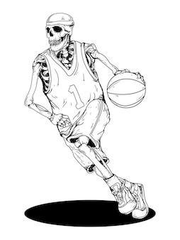 Design black and white hand drawn illustration basket ball skeleton skull premium