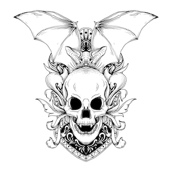 Design black and white hand drawn illustration bat and skull with engraving ornament