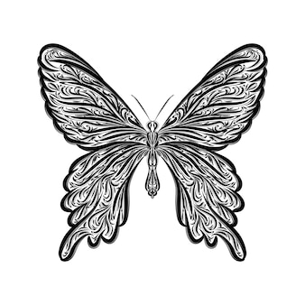 Design black and white hand drawn illustration butterfly engraving ornament