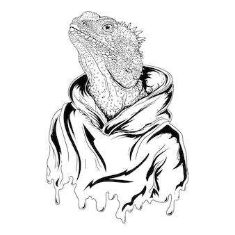 Design black and white hand drawn illustration iguana man with hoodie premium