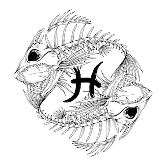 Design black and white hand drawn illustration pisces skull zodiac