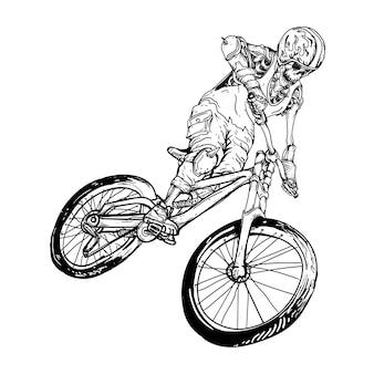 Design black and white hand drawn illustration skeleton bike  premium