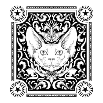 Design black and white hand drawn illustration sphynx cat engraving ornament