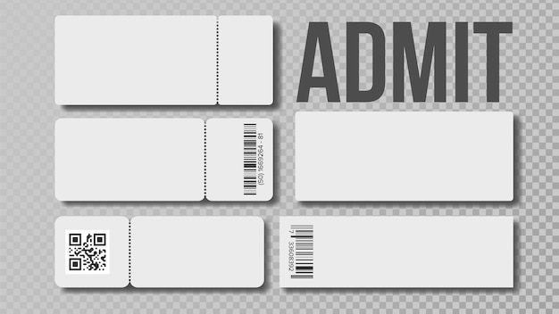 Design blank template of admit ticket set