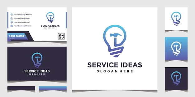 Design a building service idea logo with an elegant business card