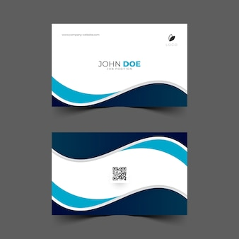 Design of business card with blue wave shape