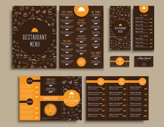 Design business cards and a4 menu, folding brochures and flyers narrow for a restaurant or cafe. templates style brown and orange colors, with drawings by hand and round elements.
