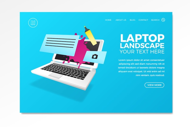 Design for business landing page with laptop