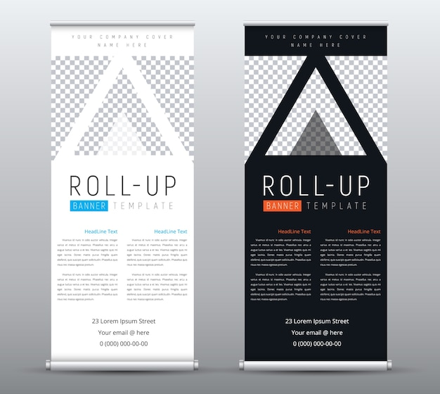 Design business roll up banner with place for photo in triangles.