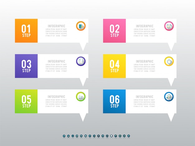 비즈니스 6 옵션 infographic 차트 요소를 디자인합니다.