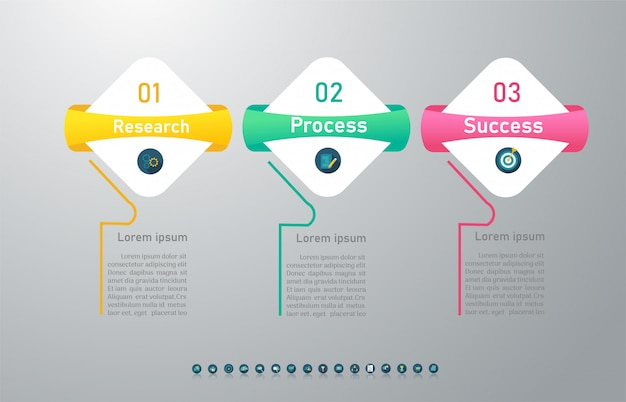 Design business template 3 options infographic chart element.