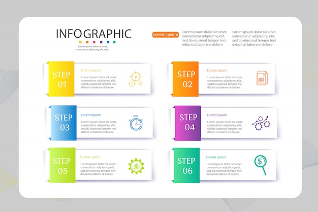 Design business template 6 options infographic chart element.