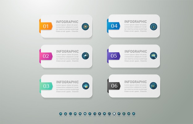 Design business template 6 options infographic for presentations.