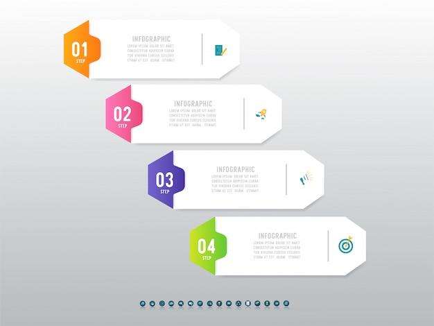 Дизайн бизнес шаблон четыре шага инфографики элемент диаграммы.