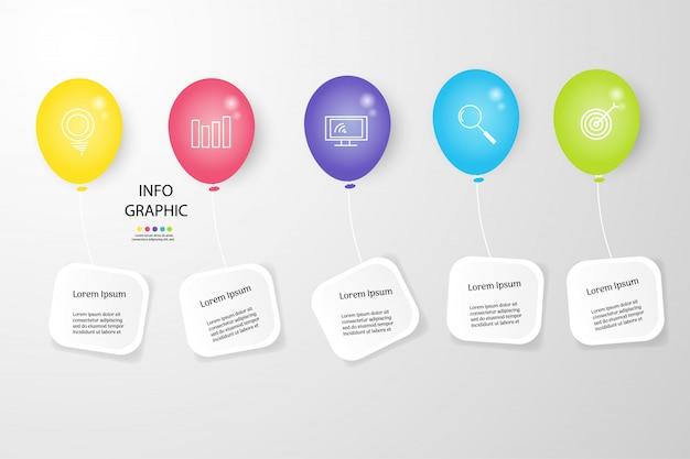 プレゼンテーションのデザインビジネステンプレートインフォグラフィックグラフ要素。