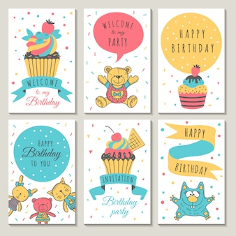 Design of celebration cards. kids invitation for party. cupcakes and children toys in cartoon style.