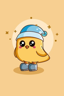 Design character of cute bird with hat