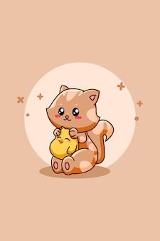 Дизайн персонажа милого кота и утки во всемирный день животных