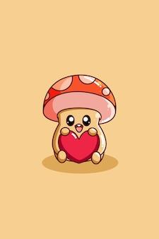 하트가 있는 귀여운 버섯의 디자인 캐릭터