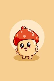 귀여운 버섯의 디자인 캐릭터