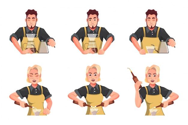 バーテンダー-バリスタ漫画フラットイラストコンセプトとして働く女性と男性のキャラクターをデザインします。