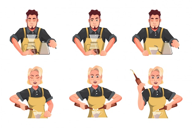 Design characters of women and men working as bartenders - barista cartoon flat illustration concept