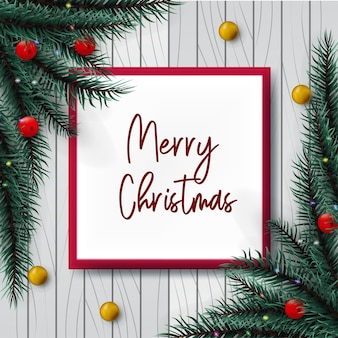 Design christmas with decoration in wood background