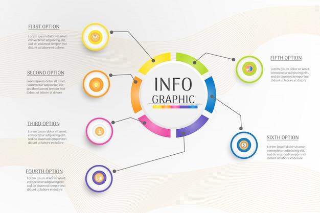 デザインサークルビジネステンプレートインフォグラフィックグラフ要素。