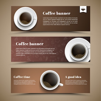 Дизайн кофейных баннеров с чашкой кофе